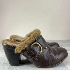 BOC Fuzzy Brown Leather Clogs